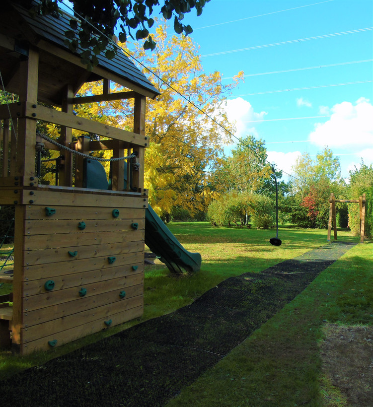 Zip wire and climbing wall