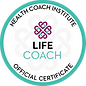Logo of Health Coach Institute, Life Coach Official Certificate. Green circle with their logo design