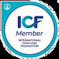 ICF Member International Coaching Federation logo. Teal green circle.