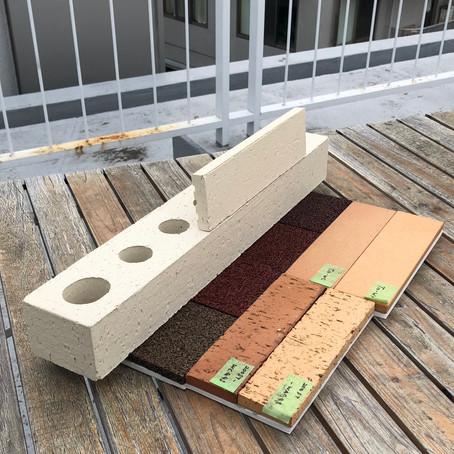 【プロジェクト進捗】甲府の本社屋 レンガの試験焼きモックアップ確認