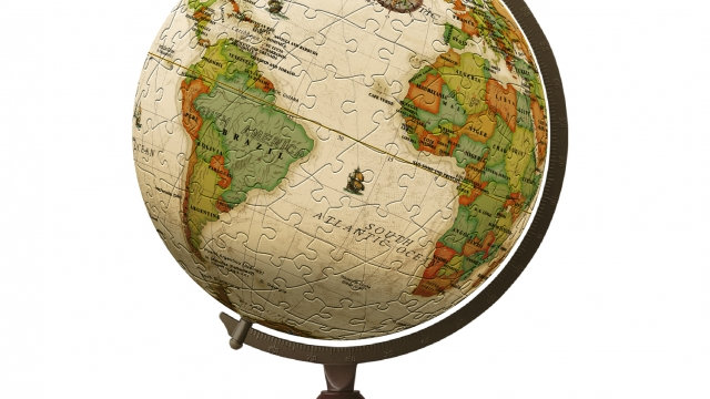 Pintoo Yellow Marble (Antique) puzzle globe