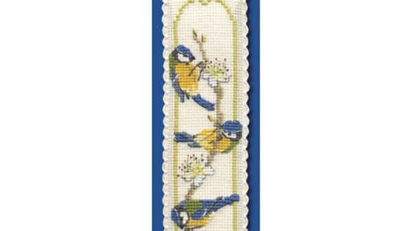 Textile Heritage Cross Stitch Bookmark Kit - Blue Tits