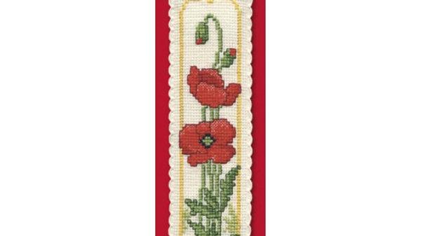 Textile Heritage Cross Stitch Bookmark Kit - Poppies