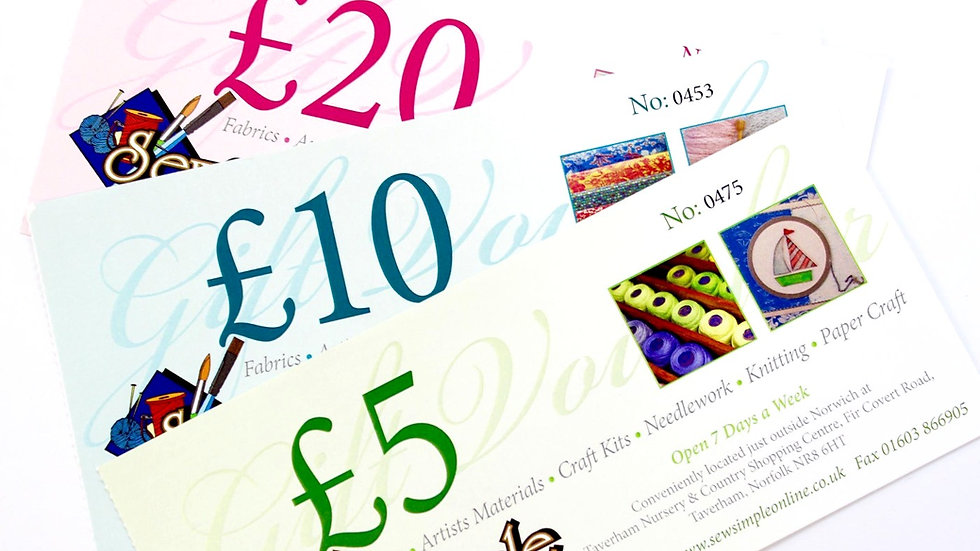 Gift Vouchers sold in multiples of £5.00