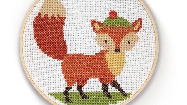 The Crafty Kit Co Cross Stitch Fox Kit