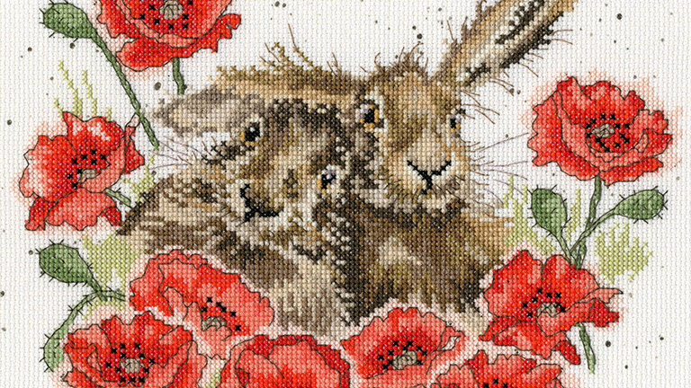 """Bothy Threads Cross Stich Kit """"Love is in the Hare"""" design by Wrendale"""