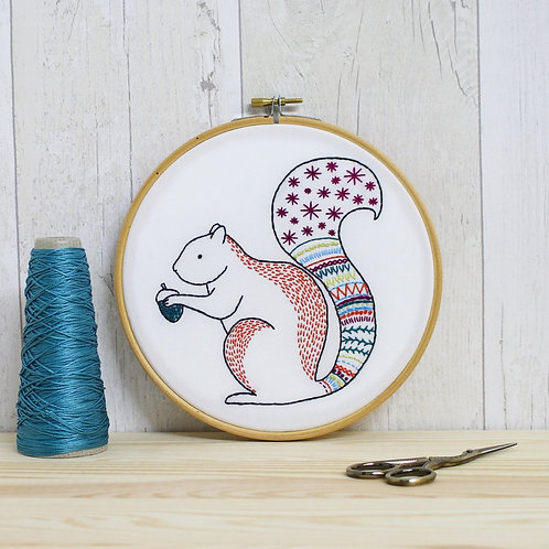 Contemporary Squirrel Embroidery Kit