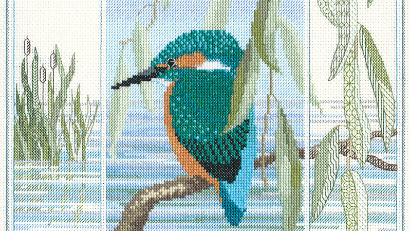 "Bothy Threads Cross Stitch kit ""Wildlife- Kingfisher"""