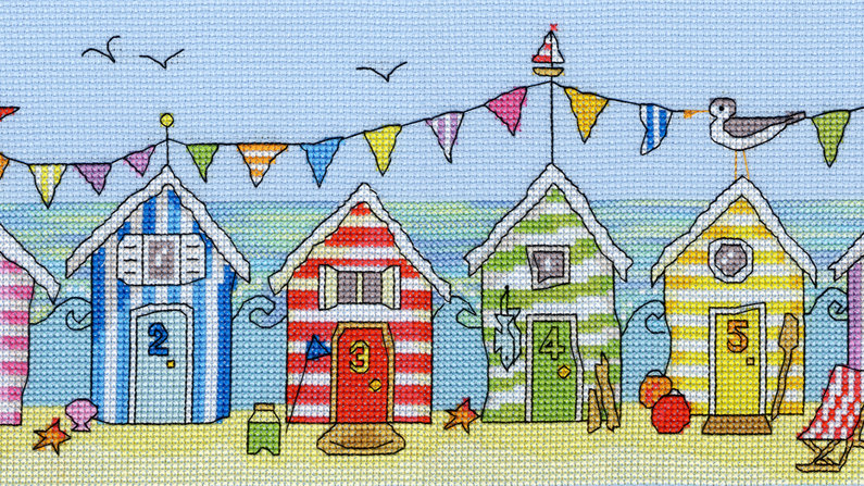"Bothy Threads Cross Stitch Kit. ""Beach Hut Fun"" by Julia Rigby"