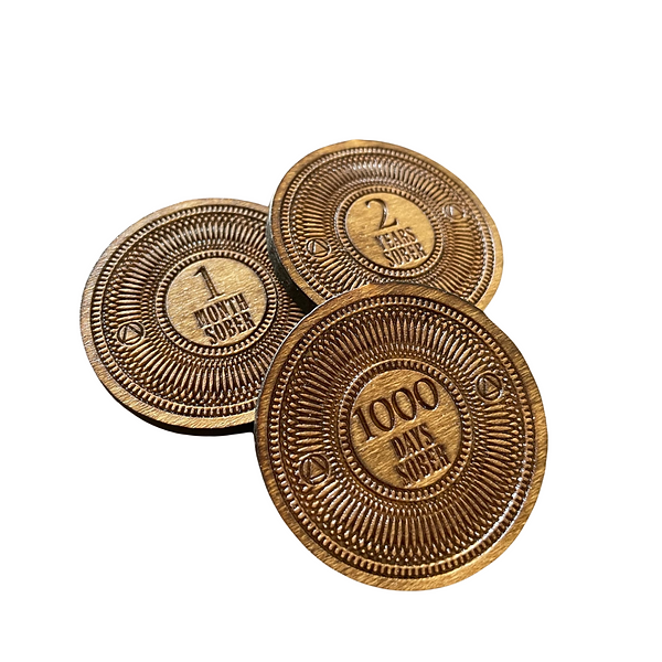 Custom Wooden Sobriety Coin
