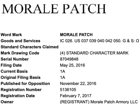 """""""Morale Patch"""" Trademark"""