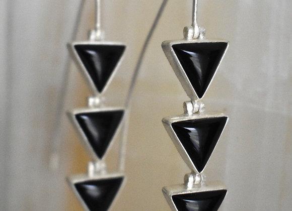 Triple onyx triangle earring