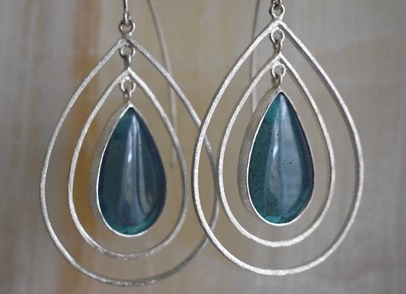Swedish blue ripple earring