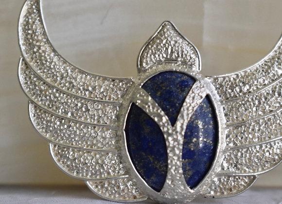 Winged scarab necklace Lapis Lazuli