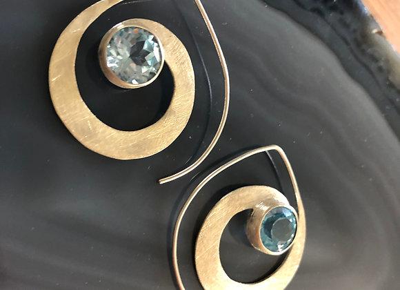 Small spiral earring~ Blue Topaz
