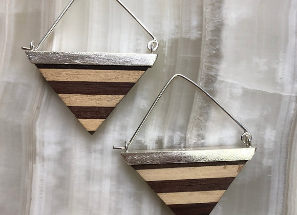 Kayu triangle earring~ maple and rosewood