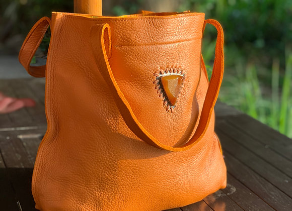 Orange Druzy Tote Bag