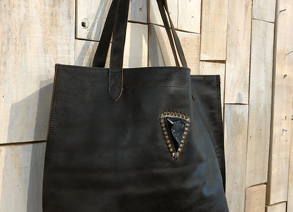Dark brown shopper with brazilian druzy