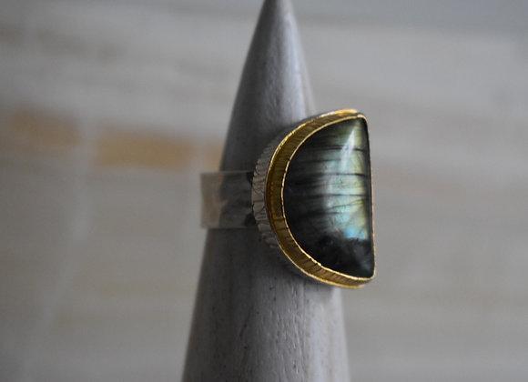 Golden Labrodorite Double Bezel Ring 7.5