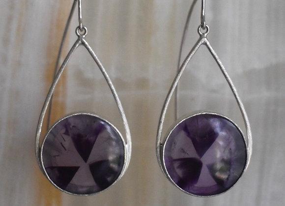 Amethyst pinwheel earrings