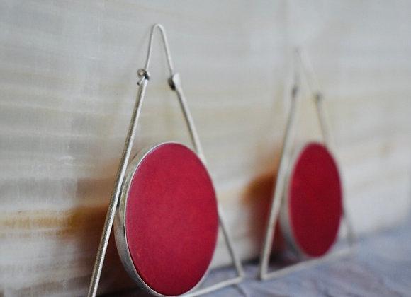 Bakelite triangle earring in vibrant red