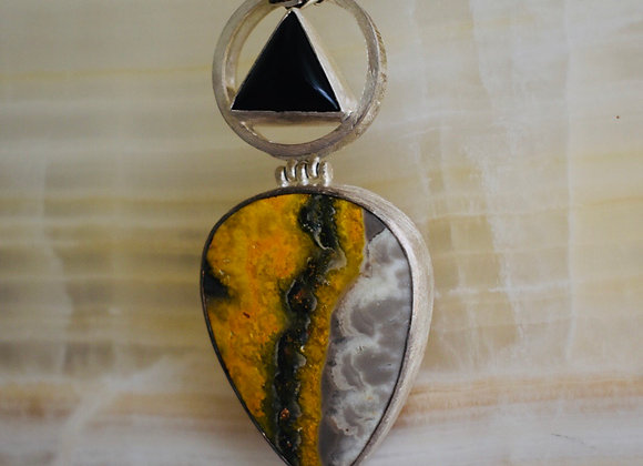 Bumble bee jasper and black onyx magic wand pendant