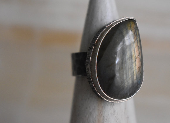 Labrodorite Double Bezel Ring Oxidized 8.5