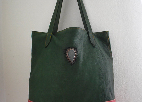 Two Toned Shopper with Peacock Druzy