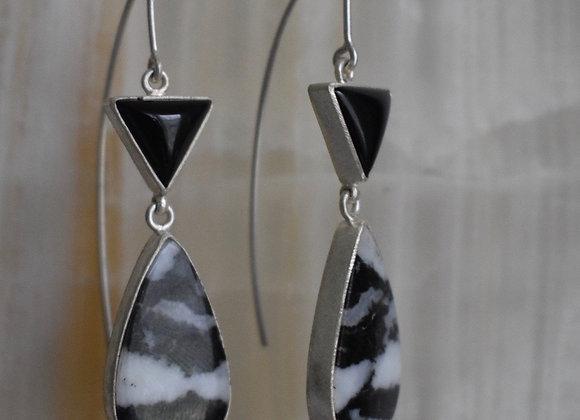 Zebra jasper and onyx earrings