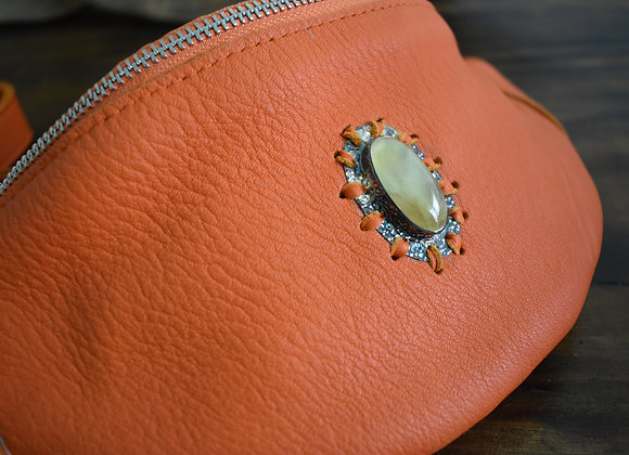 Vibrant Orange Hip Belt with Prehnite