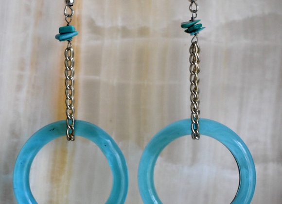 Glass hoops with turquoise earrings