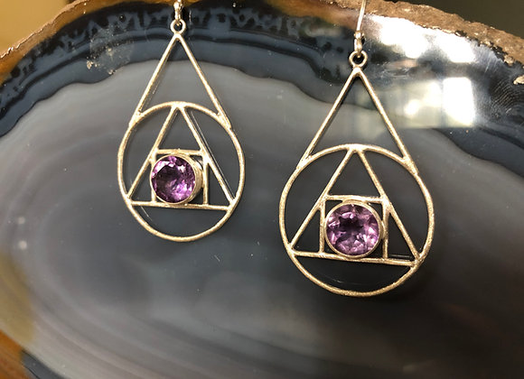 Alchemy triangle earring w/ hook~ Amethyst