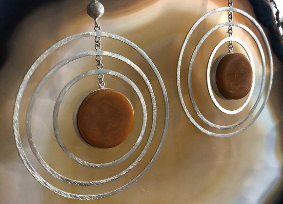 Bakelite Atomic Earring ~ Mustard