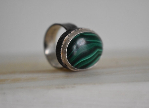 Malachite Double Bezel Ring 9