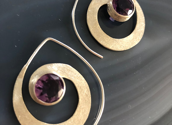 Small spiral earring~Amethyst