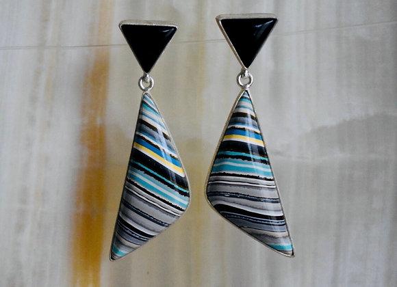 Detroit fordite and black onyx post earrings