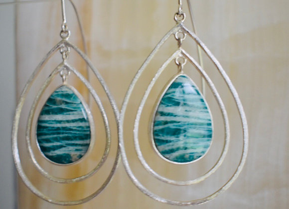 Amazonite ripple earrings