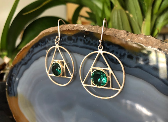 Alchemy round earring with hook~ Green Quartz