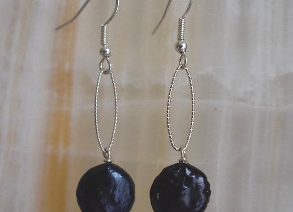 Little black pearl earrings