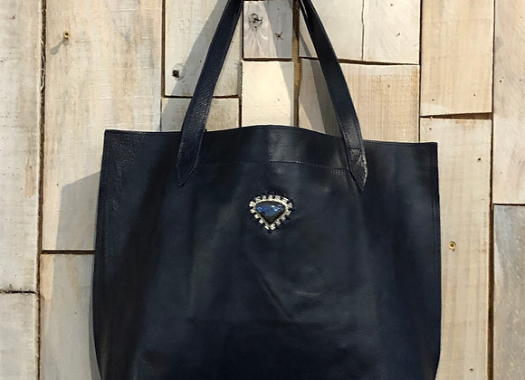 Dark Navy small shopper with Labrodorite