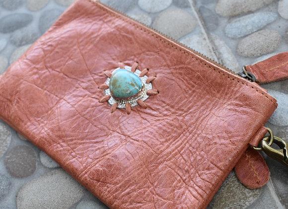 Tangerine Clutch w Turquoise