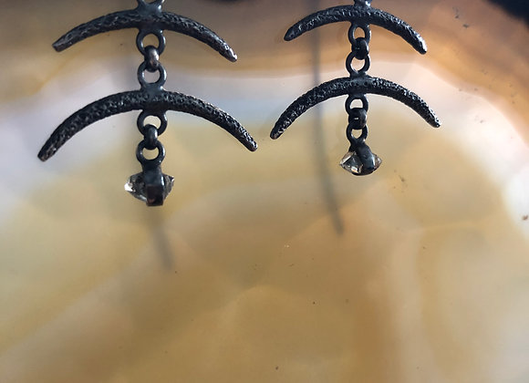 Vertebrae earrings with Herkimer Diamonds
