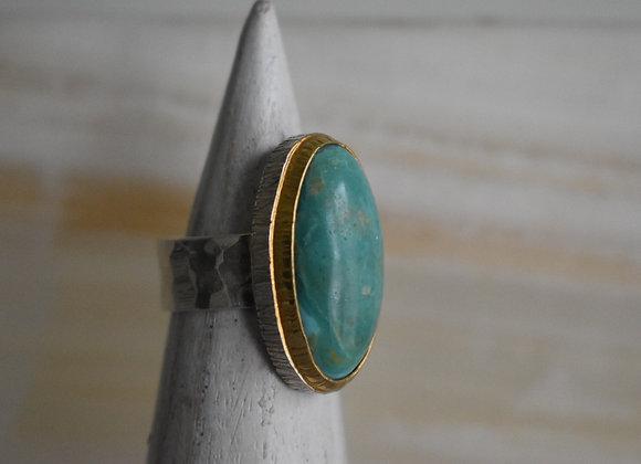 Turquoise Double Bezel Ring 7.5