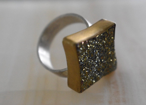 Golden Druzy Star Ring 8.5