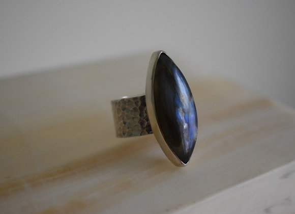 Marquis labrodorite ring with hammered band~ 7