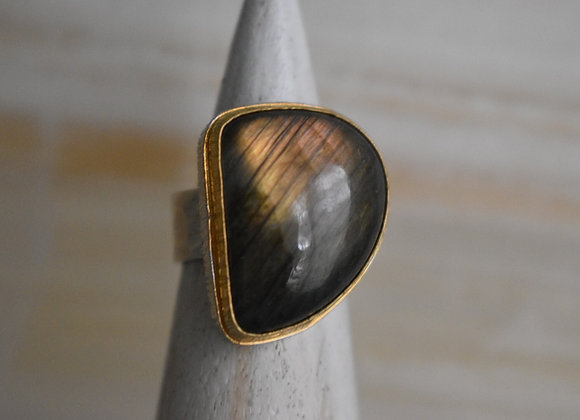 Labrodorite Double Bezel D Ring 8