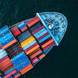Loaded container ship on ocean fromm above
