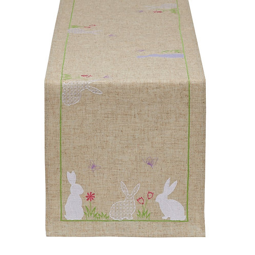 Easter Bunny Embroidered Table Runner