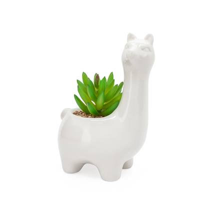 Animal Garden Ceramic Llama Potted Faux Succulent