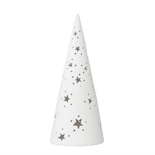 Porcelain Christmas Tree w/ Cutout Stars & LED Light